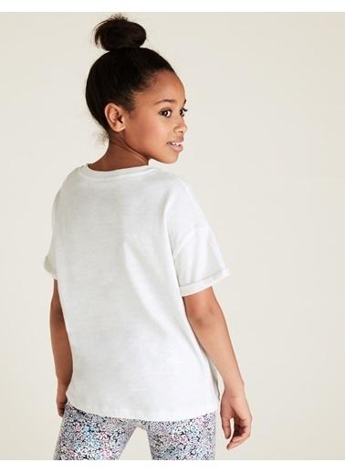 Marks & Spencer Kelebek Desenli Kısa Kollu T-Shirt Beyaz